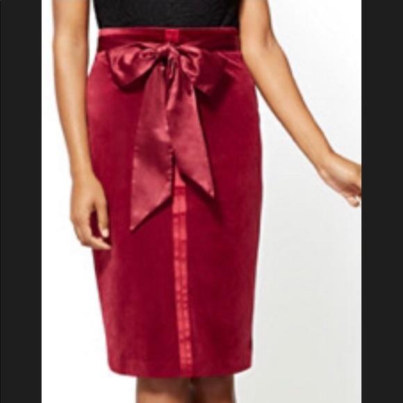 New York & Company Dresses & Skirts - Velvet skirt in cranberry